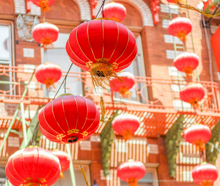 Red lanterns - a popular sight seen decorating buildings throughout China during New Year