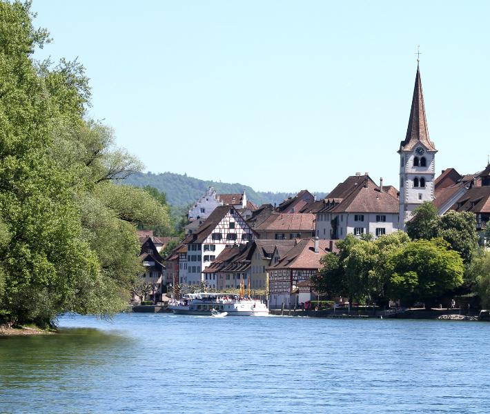 Serene landscape along the river Rhine