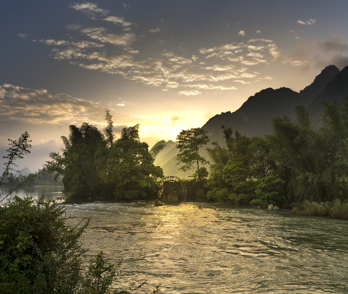Picturesque landscape of a river in Asia