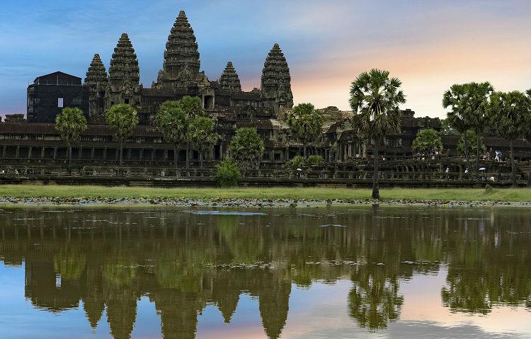 Sun setting in Siem Reap, Cambodia