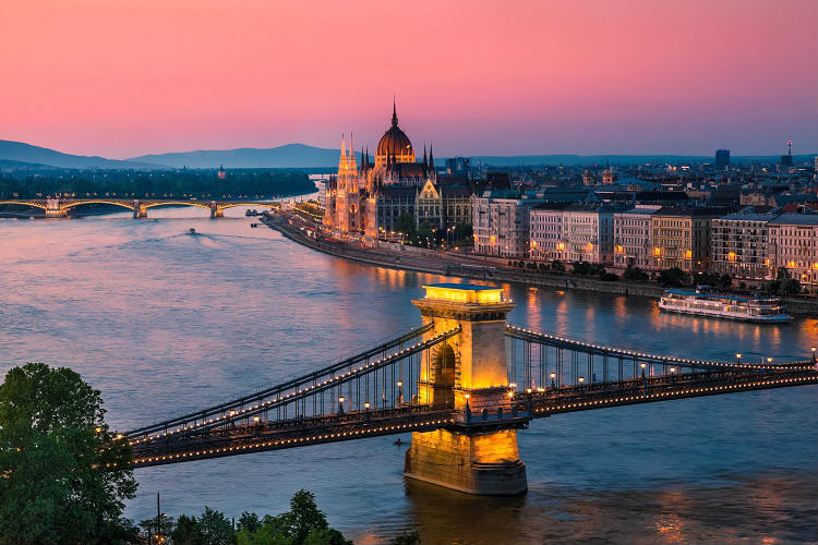 Danube river passing through Budapest at dusk