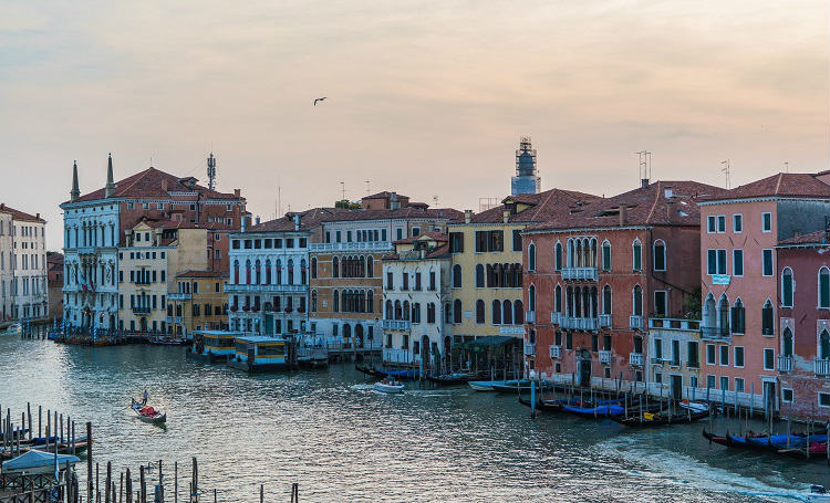 Colourful houses lining the canals of Venice