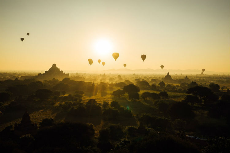 Temples silhouetted against the sunset in Bagan