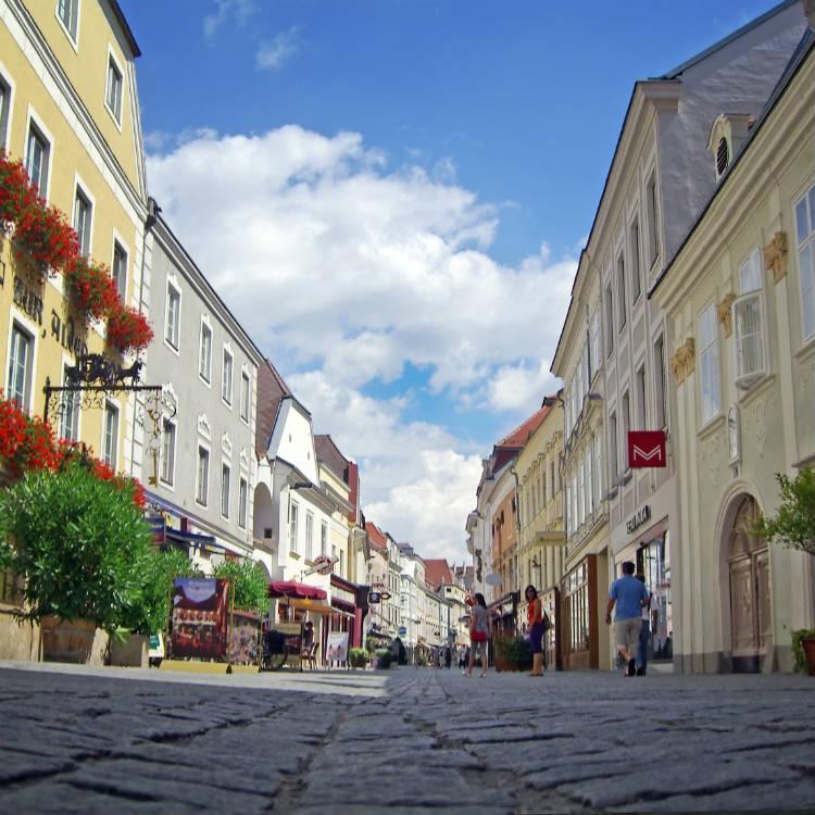 Krems streetscape in Austria
