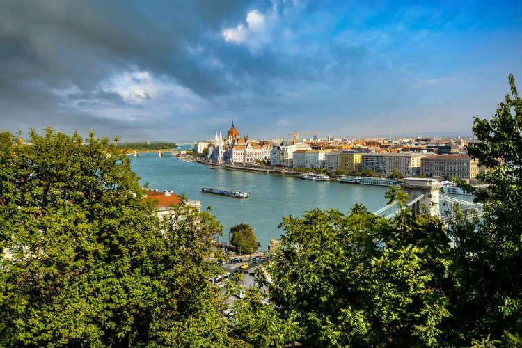 River cruising through Budapest