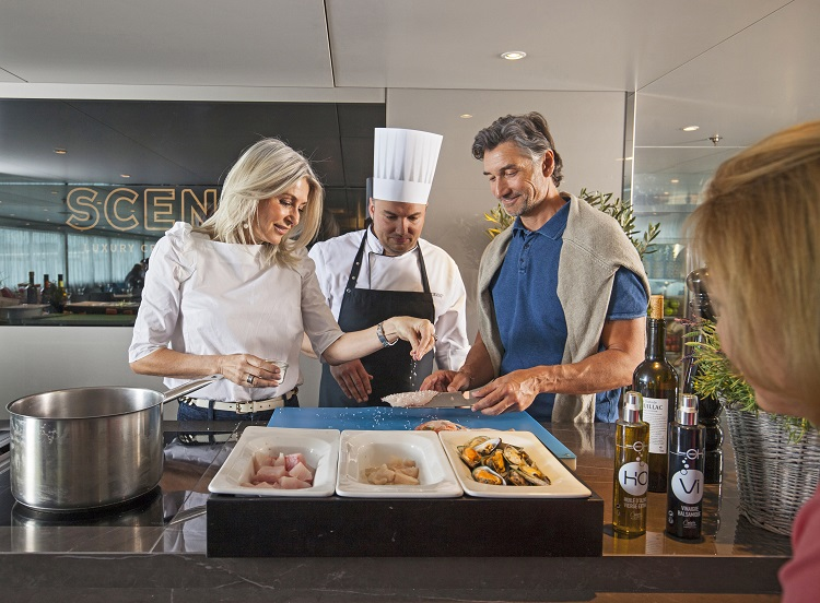 Scenic Club - Couple enjoying a cooking workshop on-board