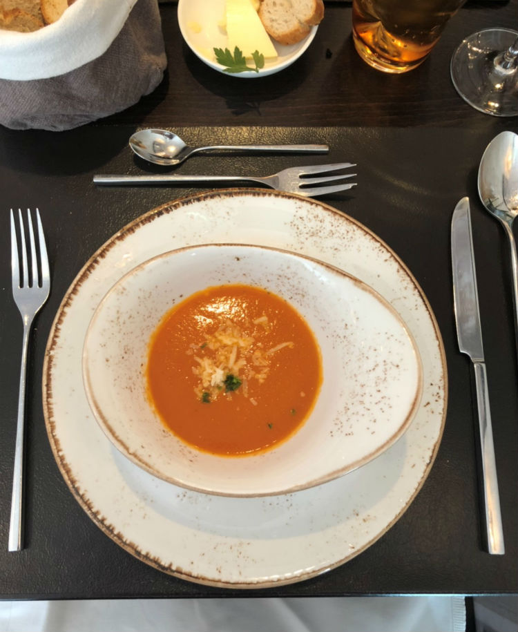 Tomato soup - Dinner on-board MS Emily Bronte - Riviera Travel
