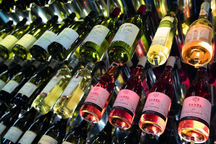Bottles stored in a wine rack
