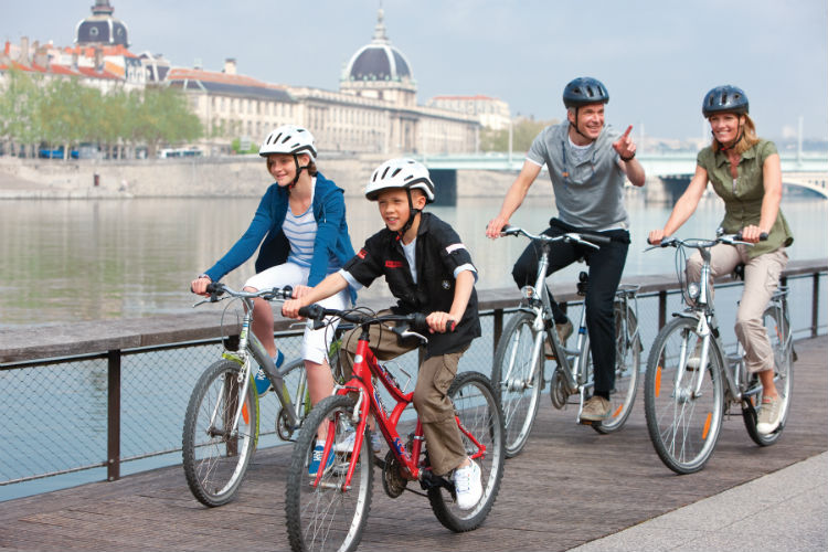 Family on bikes - Uniworld Generations