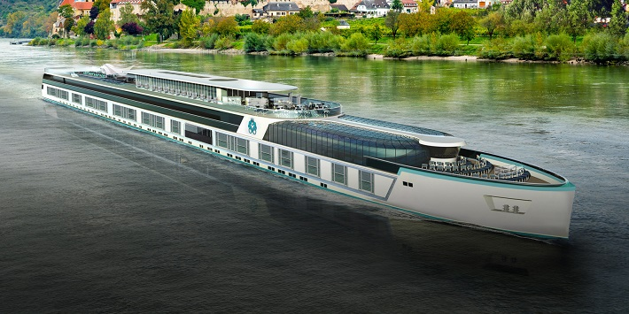 The Crystal Symphony river cruise ship sailing along a European river