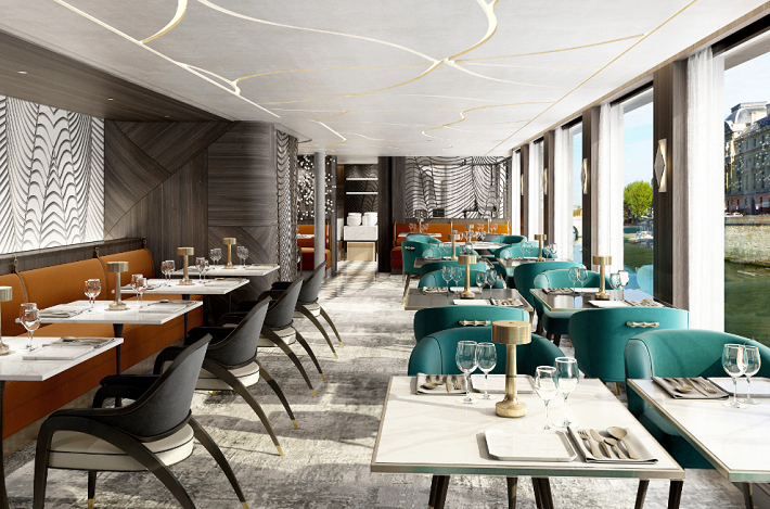 The sophisticated, river-view restaurant on-board Crystal Bach