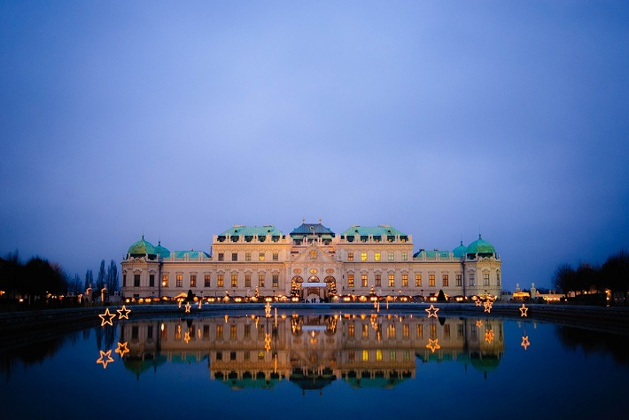 Belvedere Castle in Vienna seen during the evening on a Rhine river cruise