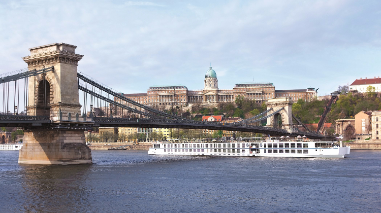 The Uniworld river cruse ship, River Beatrice, on the Danube in Budapest