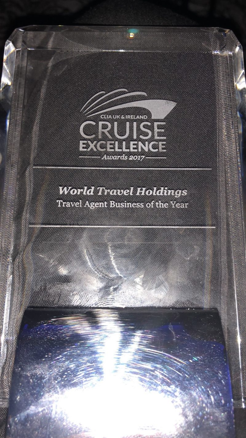 Travel Business of the Year award at the CLIA Cruise Excellence Awards 2017