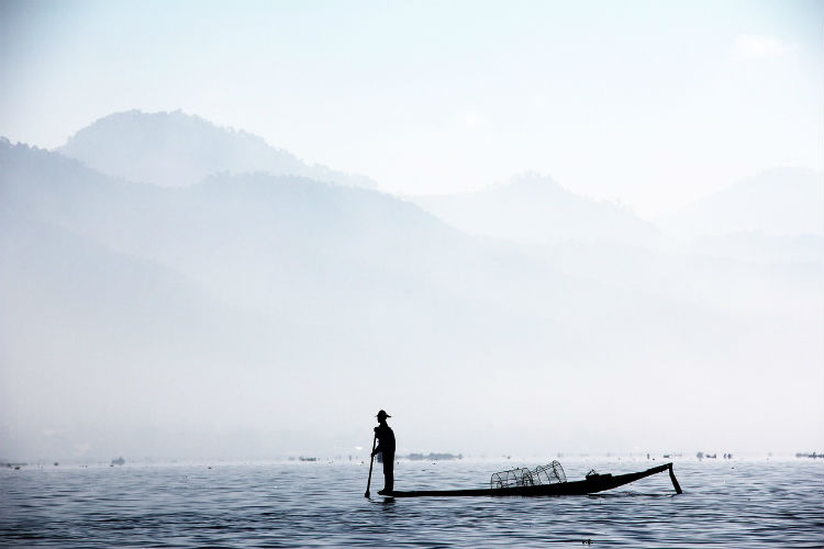 Traditional fishing along the Irrawaddy river