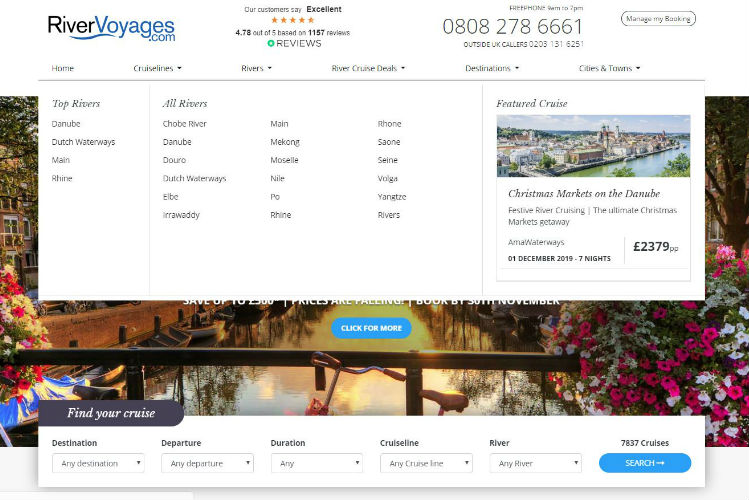 River Voyages - Top menu navigation