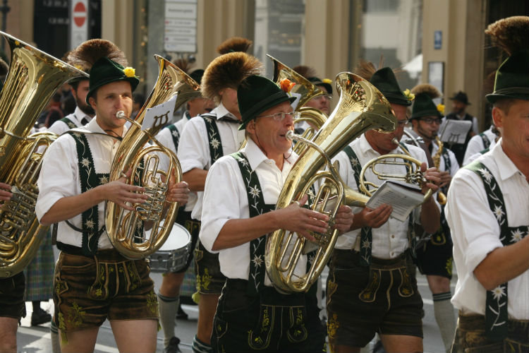 Men playing in band during Oktoberfest