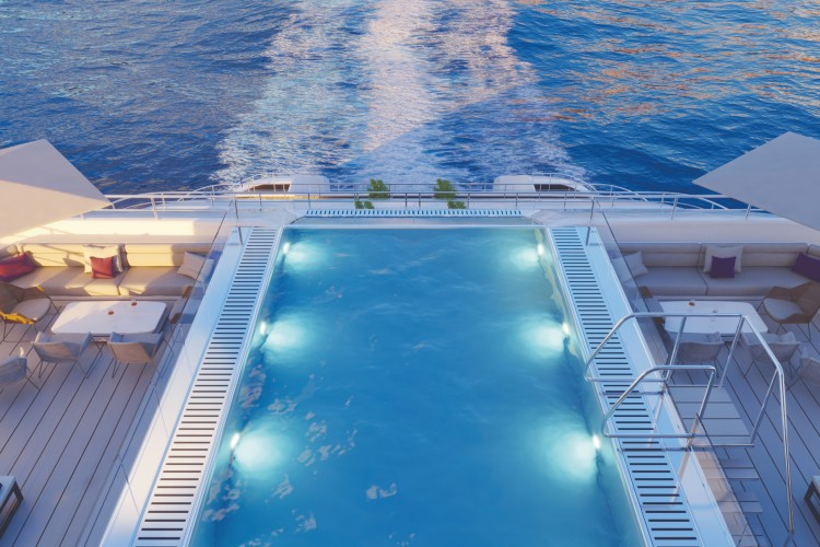 Pool from back of ship - Emerald Yacht Cruises